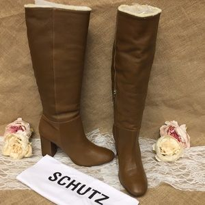 Schutz Women's Bonita Block High-Heel Boots Brown